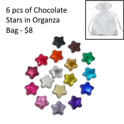 6 pcs of Chocolate Stars in organza bag- $8.00